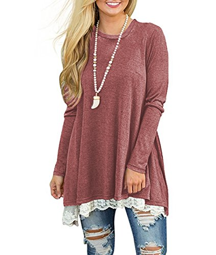 iGENJUN Women's Casual Lace hem Long Sleeve Tunic Top Blouse ,M,Wine (Sexy Dress Up Outfit)