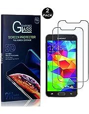 SONWO Protector Pantalla Galaxy S5, Anti-Burbujas, Cristal Templado para Samsung Galaxy S5 Anti-despegamientos, Anti-arañazos, Cobertura Completa, 2 Piezas