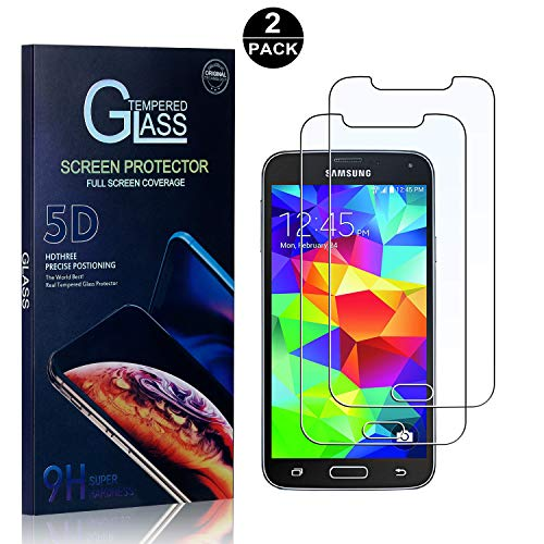 (Galaxy S5 Screen Protector, Bear Village Tempered Glass Screen Protector, HD Screen Protector Glass for Samsung Galaxy S5-2 Pack)