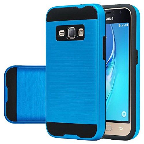 Galaxy J3 Case, Galaxy Sky, Galaxy Express Prime Case, Galaxy Sol, Galaxy Amp Prime [Shock/Impact Resistant] Brush Hybrid Defender Protective Case Cover for Samsung Galaxy J3/J3 V, Blue