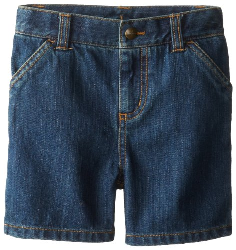 Carhartt Little Boys' Washed Denim Dungaree Short Toddler, Worn Blue, 4T ()