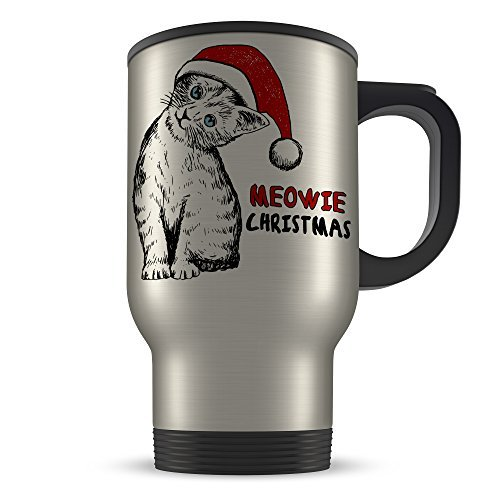 Meowie Christmas Cat Sketch Cute Novelty Aluminium Travel Mug (Meowie Christmas Cat)