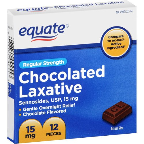 Equate - Chocolated Laxative, Regular Strength, Sennosides 15 mg, 12 Pieces (Compare to ex-lax) -