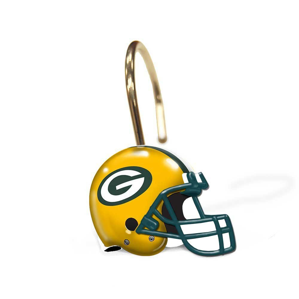 Notre dame bathroom accessories - Green Bay Packers Bathroom Shower Curtain Hooks Rings Set