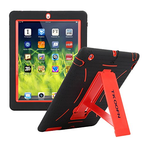 TKOOFN Shockproof Bumper Case Cover with Built in Stand for Apple iPad 2 / iPad 3 (The New