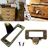 6pcs Antique Brass Drawer Label Pull Cabinet Frame Handle File Name Card Holder