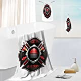 100% Cotton 3 Piece Bath Towel Sets-city fire department organization realistic logo emblem design with crossed axes and pumps red Highly Absorbent and Softness