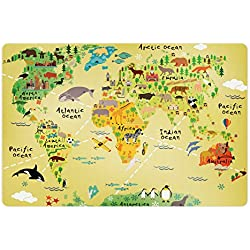Lunarable Africa Pet Mat for Food and Water, Educational World Map Africa America Penguins Atlantic Pacific Animals Australia, Rectangle Non-Slip Rubber Mat for Dogs and Cats, Multicolor