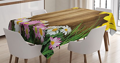 Rustic Home Decor Tablecloth by Ambesonne, Collection of Various Kind of Flower Fresh Long Grass Frame Daisy Easter Theme, Dining Room Kitchen Rectangular Table Cover, 60W X 84L Inches, Multi