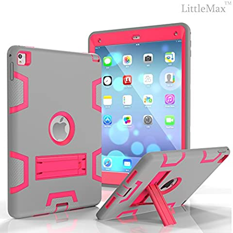iPad Pro 9.7 Case,LittleMax(TM) [High Impact] Kickstand Protective Case 3 in 1 Robot Soft Gel Tough PC iPad Pro 9.7 Inch Case Cover [Free Cleaning Cloth,Stylus Pen]-02 Grey (Ipad 3 Soft Gel Case)