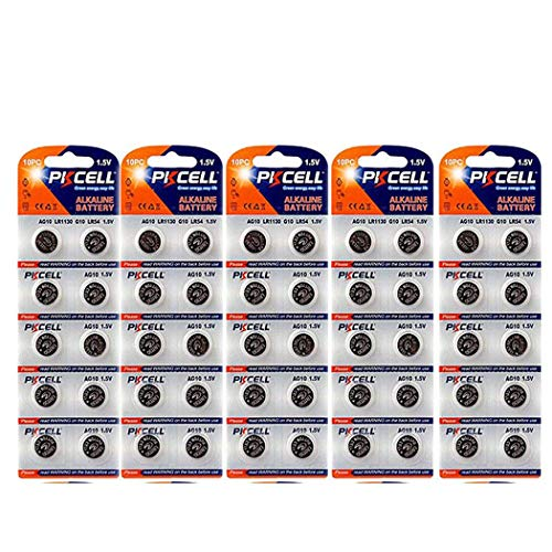 L1131 LR1130 389 390 189 LR54 G10,50 x (10 pc/card) Alkaline Watch Batteries. ()