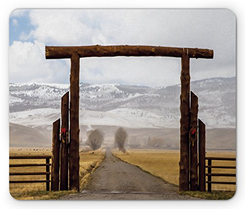 Western Mouse Pad by Lunarable, Big Log Gate Lane Montana Cattle Ranch in Winter Countryside Hills Cloudy Sky, Standard Size Rectangle Non-Slip Rubber Mousepad, Brown Grey (Big Sky Log)