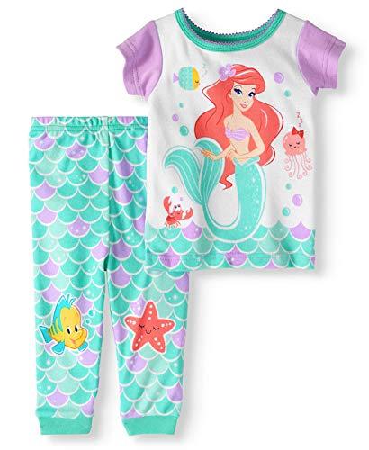 (Little Mermaid Baby Girl Cotton Tight Fit Pajamas, 2pc Set (18)