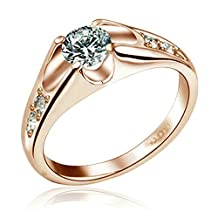 Yoursfs 18K Rose Gold Plated Unique Cubic Crystal Wedding Rings for Best Gift