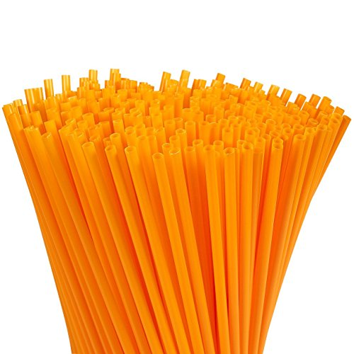 Juvale 300-Pack Plastic Orange Disposable Party Drinking Straws,