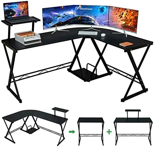 "GreenForest L Shaped Desk 64"" Large Size Reversible Corner Computer Desk with Movable Shelf and CPU Stand, Gaming Desk with Sturdy X Leg Space Saving Home Office Workstation Table, Black"