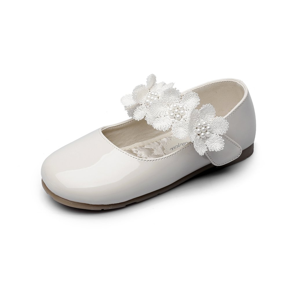 Chiximaxu Maxu Kid Girl's Offwhite Marry Jane Flat Shoes Strap Flower,Toddler 5.5M