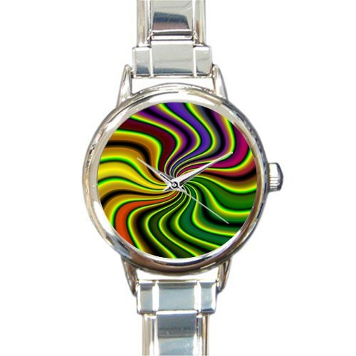Personalized Christmas Gift Watch Abstraction Tie Dye Round Italian Charm stainless steel Watch