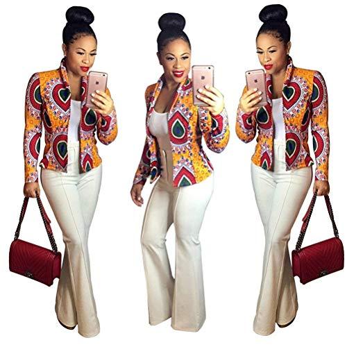 Pattern Autunno Fashion Primaverile Casuale Manica Vintage Outerwear Cappotto Semplice Stampato Glamorous Fit Giaccone Bavero Eleganti Giacca Gelb Donna Corto Lunga Slim wqTBIxB