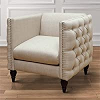 Furniture of America Bently Tufted Accent Chair in Beige
