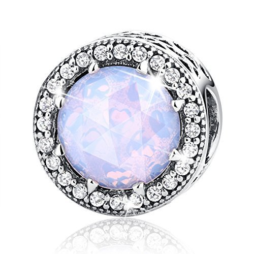 BAMOER Bead and Sterling Silver Charm For Teen Girl Blue Sky Radiant Hearts with Zirconia for Her by BAMOER (Image #1)'