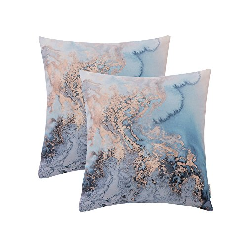 Decorative Modern Pillow (HWY 50 Set of 2 Modern Decorative Throw Pillows Covers Couch Sofa 18 x 18 inch, Thicken Cotton Linen Digital Printed Throw Pillows Cases Bed, European Art Clouds Cushion Covers)