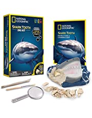 NATIONAL GEOGRAPHIC Shark Tooth Dig Kit, Excavate 3 Real Shark Fossils Including Sand Tiger, Otodus and Crow Shark, Great Gift for Biology Enthusiasts