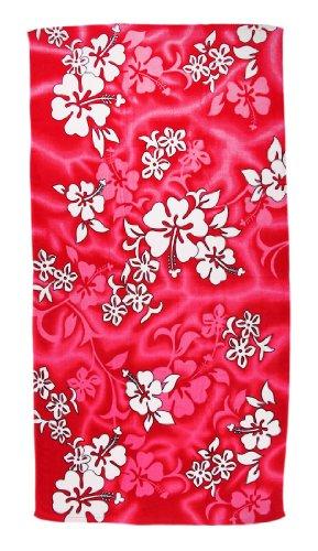 Hot Pink Hibiscus Flowers Reactive Beach Towel 60