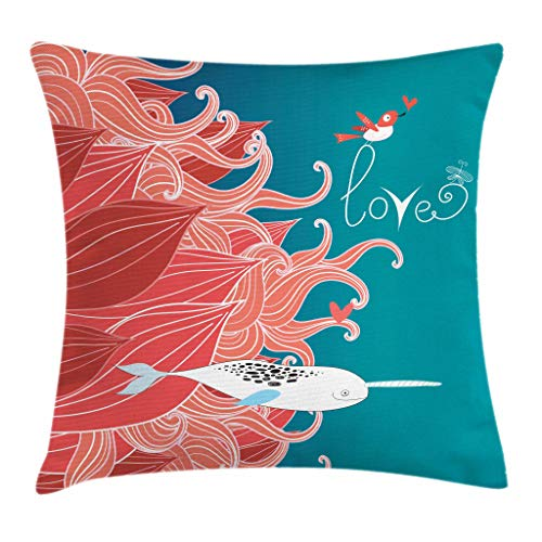 Ambesonne Narwhal Throw Pillow Cushion Cover, Love Themed Sketch Illustration with Arctic Whale Valentine's Arrangement, Decorative Square Accent Pillow Case, 18 X 18 Inches, Teal Coral White (Coral Home Accents)