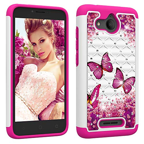 Berry Accessory Alcatel Tetra Case, Alcatel Tetra Luxury Glitter Sparkle Bling Case,Studded Rhinestone Crystal Hybrid Dual Layer Armor Case for Alcatel Tetra 2018 Pink Butterly