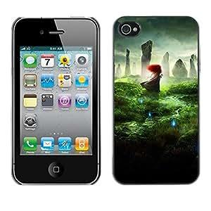 FECELL CITY // Duro Aluminio Pegatina PC Caso decorativo Funda Carcasa de Protección para Apple Iphone 4 / 4S // Nature Redhead Wonder Mystical Magic