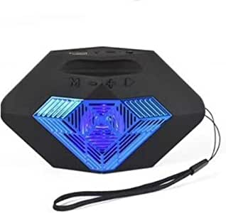 Wireless Bluetooth Audio with Lanyard LED Colorful Lights in Series USB Portable Card Bluetooth Speaker,Blue