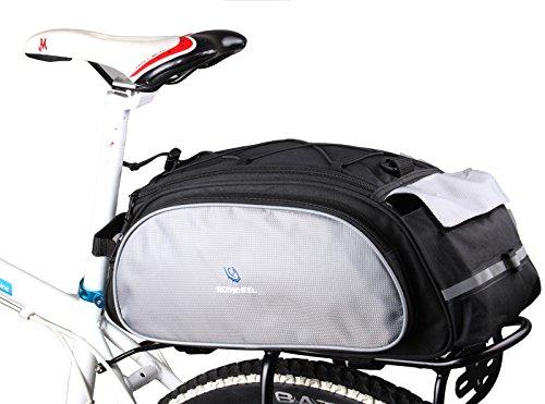 ArcEnCiel 13L Cycling Bike Bicycle Rear Seat Bag Pouch Rack Trunk Saddle Pannier Storage (Black)