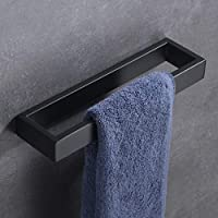 Hoooh Bath Towel Holder - Hand Towel Ring Matte Black SUS 304 Stainless Steel Contemporary Style Wall Mount, D110-BK