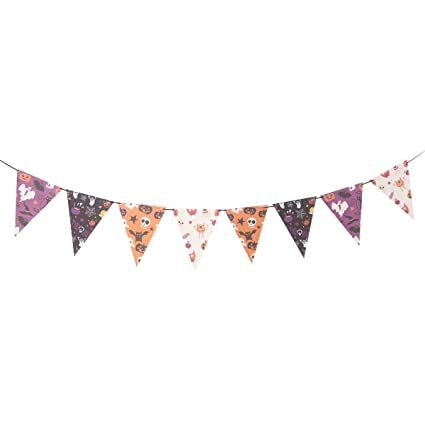 DIY Halloween Bunting Banners Ghost Pumpkin Skull Bat Patterns Streamer Garland Flags Pennant Paper Chain