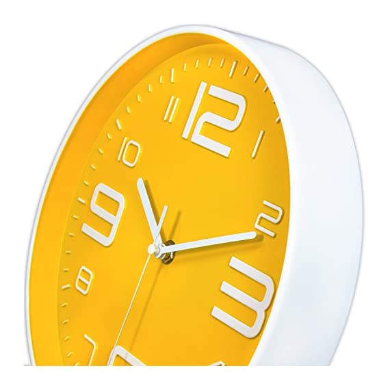 45Min 10-Inch 3D Number Dial Face Modern Wall Clock, Silent Non-Ticking Round Home Decor Wall Clock with Arabic Numerals, 7 Color Dial Face (Yellow) - Silent Non-ticking,quiet sweep and precise movements to guarantee accurate time and ultra-quiet environment. Round in shape, Modern Industrial Style with large 3D white numbers, Yellow dial face guarantee good view. Sturdy plastic case and Flat glass lens, makes it easy to clean and keeps dust away from dial. - wall-clocks, living-room-decor, living-room - 51N7VL9RcrL. SS570  -