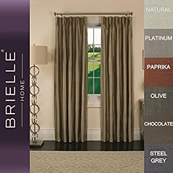 Energy Saving and Pinch Pleat Finish Rod Loop Back Tab Panel Room Darkening 33 by 95 Insulated Brielle 100/% Dupioni Real Silk Lined Chocolate 33 by 95 807000134458