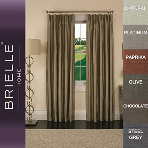 Brielle 100% Dupioni Real Silk Lined, Insulated, Room Darkening, Energy Saving and Pinch Pleat Finish Rod Loop Back Tab Panel, 33 by 84