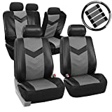 FH-PU021115 Synthetic Leather Auto Seat Covers w. Accessories Gray / Black
