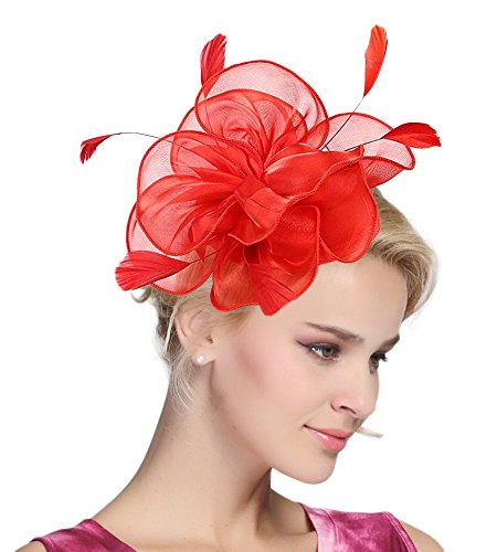 (Urban CoCo Women's Vintage Flower Feather Mesh Net Fascinator Hair Clip Hat Party Wedding (Series 4-Red))