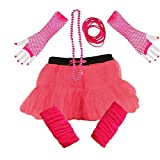 Ladies NEON TUTU SKIRT LEGWARMERS GLOVES 5 piece set (UK 8-14, PINK) by PAPER UMBRELLA