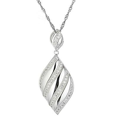 6519d8d94f60 gnzoe joyas mujer Collar 925 Plata Espiral ovalada Cage Forma Colgante  Cadena De Plata Elegante Mujer Cadena Color Blanco Tamaño 1.3 x 3.2 cm con  ...