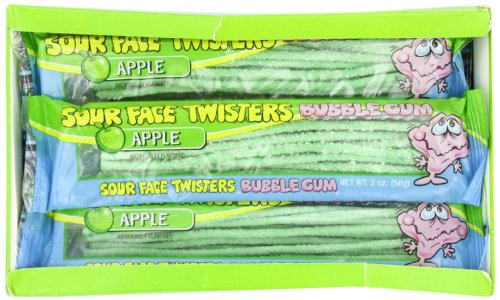 - Face Twisters Sour Bubble Gum Straws, Green Apple, 2 Ounce (Pack of 12)