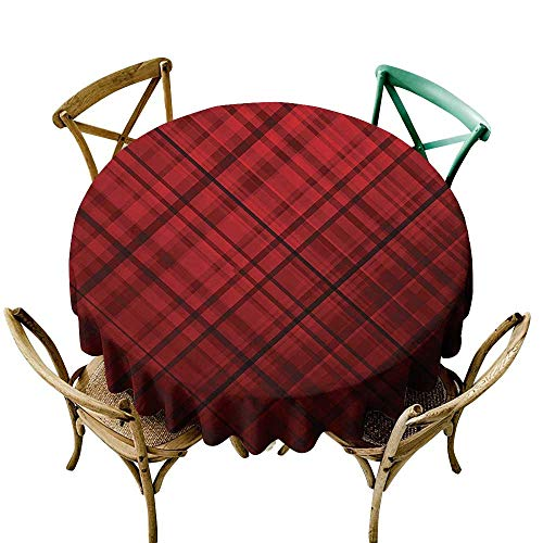 (Jbgzzm Washable Table Cloth Red and Black Scottish Kilt Design Pattern with Stripes Lines Squares Ombre Image Washable Tablecloth D39 Burgundy and Scarlet)