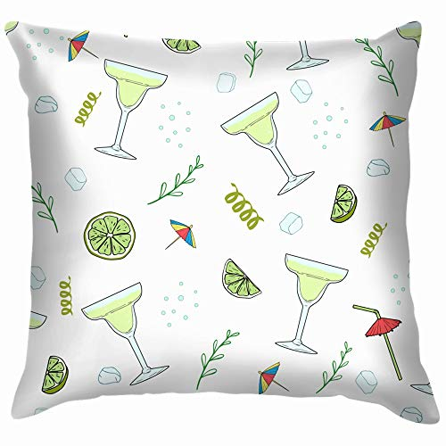 Cocktail Margarita Hand Drawn Throw Pillows Covers Accent Home Sofa Cushion Cover Pillowcase Gift Decorative 20X20 Inch]()
