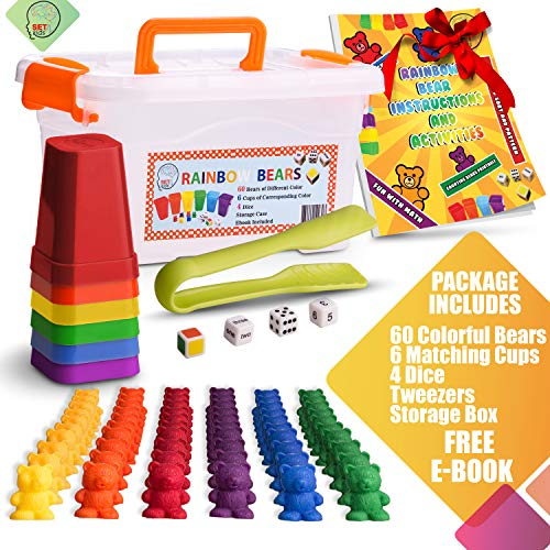 SET4kids Counting Bears with Matching/Sorting Cups, 4 Dice , Tweezers and an Activity e-Book. for Toddler Games | Early Childhood Education. 71 pc Game Set