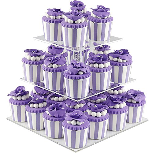 DYCacrlic 3 Tiers Party Cupcake Stand, Tiered Wedding Cupcake Holder, Acrylic Cupcakes Displays Tower, Clear Round Cake Stands for Dessert Pastry,Kids Baby Shower Birthday - Bubble Rod New Style -