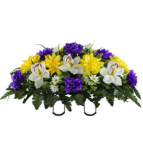 Sympathy Silks Artificial Cemetery Flowers – Realistic Elegant Orchids, Outdoor Grave Decorations - Non-Bleed Colors, and Easy Fit - Purple Yellow Orchids Saddle