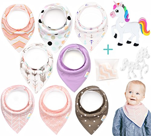 Price comparison product image Baby Bandana Drool Bibs,  Girls 8-Pack Gift Set for Drooling and Teething for Girls + Unicorn Silicone Teether in Gift Bag by Numu Baby