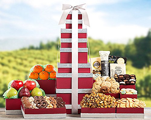 Holiday Extravaganza - Fruit and More Gift Tower by Wine Country Gift Baskets